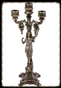 Stunning Large Art Deco Bronze Effect Lady Candelabra